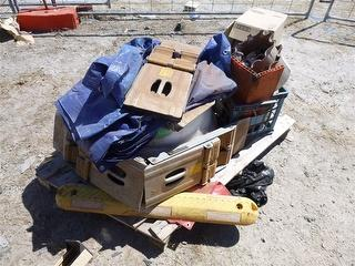 Pallet OF Miscellaneous With Wheel Chocks And HUB Cap Spare Parts Photo