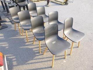 8X Plastic Chairs With Wood Legs Furniture Photo