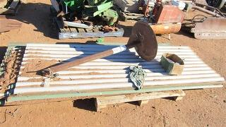 MISCELLANEOUS Farm Equipment Qty of Iron Sheets, Metal Stand Photo
