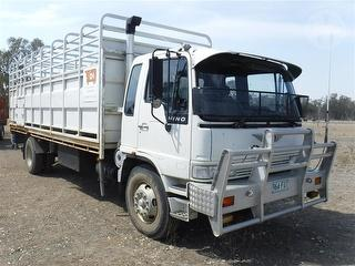 1993 Hino GH3HPL-Q3H Tray Truck F/W Steel Stock Crate GCM 24,000kg Photo